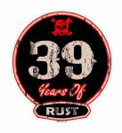 Distressed Aged 39 Years Of Rust Motif For Retro Rat Look VW etc. External Vinyl Car Sticker 100x90mm